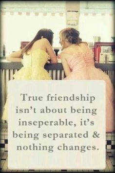 True friendship isn't about being inseparable, it's being separated and nothing changes. Even though they spill inseparable and separated wrong, it's a good quote! Cute Quotes, Great Quotes, Quotes To Live By, Funny Quotes, Inspirational Quotes, Top Quotes, Genius Quotes, Motivational Monday, The Words