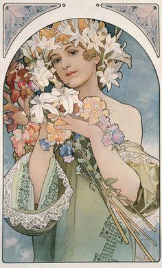 Flower, by Alphonse Mucha. (1897) Mucha Foundation Prints.