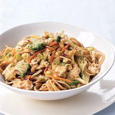 Spaghetti with Szechuan Chicken and Peanut Sauce