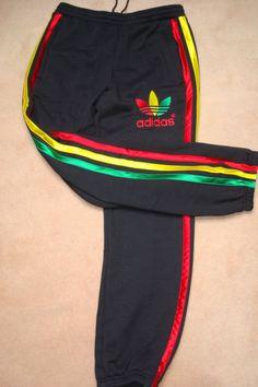 Workout rasta Adidas pants circa 1970s Adidas Sweatpants, Sweatpants Outfit, Adidas Outfit, Adidas Pants, Nike Shorts, Joggers, Teddy Boys, Art Rasta, Reggae Concerts