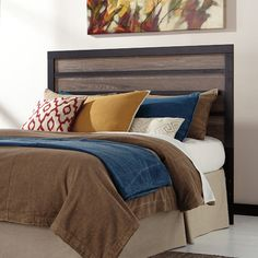 Features:  -Harlinton collection.  -Color: Charcoal and gray.  -Assembled in the United States with Global Components.  -Compatible with standard metal bed frame.  Finish: -Charcoal; Gray.  Frame Mate