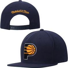 new concept d3747 991fd Mens Indiana Pacers Mitchell   Ness Navy Blue Current Logo Solid Wool  Adjustable Snapback Hat,