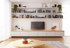 Scandinavian Living Room Design #interiordesign #scandinavian #scandinaviandecor #bookshelf #tvshelf #bookshelfdecor #woodtable #tea…