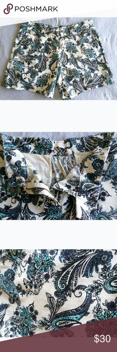 LOFT Floral & Paisley Linen Shorts Cream linen shorts with an eye catching floral and paisley motif.   Worn only once for a couple of hours, so they are in great used condition. LOFT Shorts