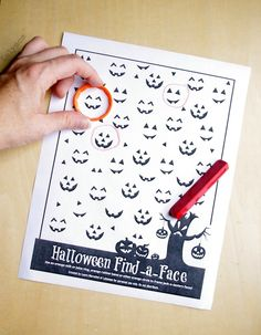 Free Printable preschool halloween games worksheet that targets visual scanning and fine motor skills.