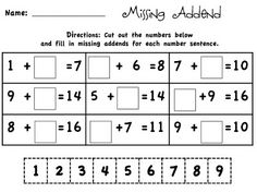 I like this worksheet because of the variety of missing addend problems it shows. It demonstrates the concept by using word problems, visual manipulatives, and horizontal number sentences. Math Worksheets, Math Resources, Math Activities, Missing Number Worksheets, Addition Worksheets, Educational Activities, Math Classroom, Kindergarten Math, Printables