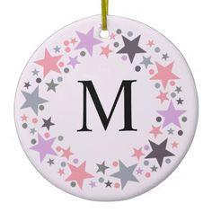 Christmas stars wreath monogram ornament - Xmas ChristmasEve Christmas Eve Christmas merry xmas family kids gifts holidays Santa