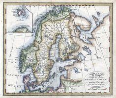 Scandinavia 1805 Graverad av Neele och publicerad i A New Geographical Grammar, 1805