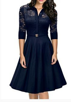 My bridesmaids dress for my November wedding. Long sleeve, lace, navy and tea length   http://www.fashionmia.com/Products/blue-hollow-out-lace-patchwork-exquisite-band-collar-skater-dress-130137.html