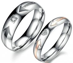 """AMDXD His & Hers """"YOU ARE MY LOVE"""" 6MM & 4MM Rings Inlaid Stainless Steel CZ Cupid Couples Heart Arrow"""