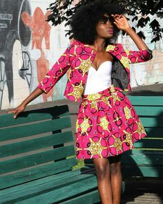 Gorgeous pink and yellow African print two piece blazer and skirt set