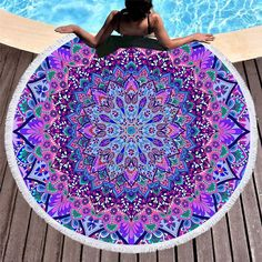 Bohemian Round Beach Towel Blue and Purple Tassel Tapestry Yoga Mat Boho Blanket Beach Wrap, Beach Fun, Beach Yoga, Summer Beach, Towel Girl, Fall Picnic, Mandala Tapestry, Purple Tapestry, Mandala Blanket