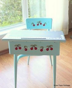 school desk hand painted with cherries