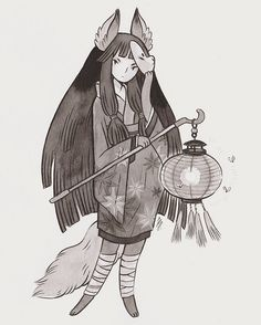 Commission for @teakitsune of their character Okina Thank you so much for commissioning me! #ink #illustration #kitsune
