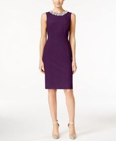 Calvin Klein Beaded Sheath Dress, Regular & Petite Sizes - Purple 12P