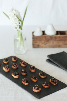 Slate Canapé Board by AnnabellStone on Etsy Walnut Oil, Canapes, Antipasto, Charcuterie, Food Grade, Main Meals, Food Styling, Slate, Sushi