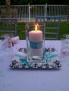 My friend had a Tiffany and Co. bridal shower theme. Loved her centerpieces