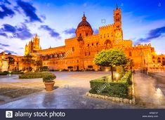 Palermo, Sicily. Twilight view Norman Cathedral of Assumption the Virgin Mary, medieval Italy. Stock Photo Palermo Sicily, Virgin Mary, Norman, Twilight, Taj Mahal, Cathedral, Medieval, Italy, Stock Photos