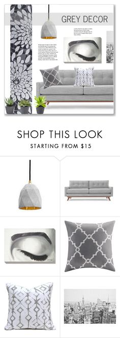 """Grey Decor"" by kellylynne68 ❤ liked on Polyvore featuring interior, interiors, interior design, home, home decor, interior decorating, Thrive, Grandin Road, Madison Park and Home"