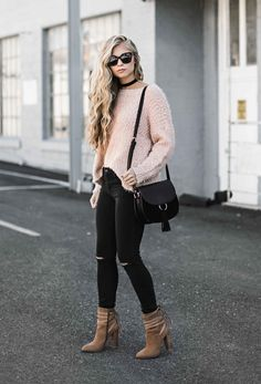 Pale pink sweater + black distressed skinny jeans + black choker + tan pointed toe booties