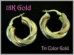 18K Gold ~ Twisted Tri Gold Textured Hoop Earrings - Brev Unoaerre - Gift Boxed - FREE SHIPPING by FindMeTreasures on Etsy