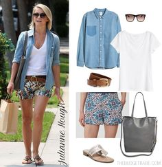 Pair printed shorts with a white tee and chambray shirt like Julianne Hough.