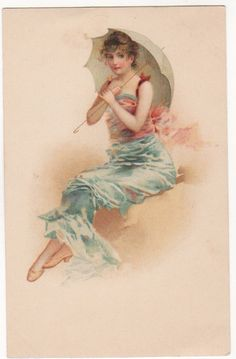 LOVELY LADY WITH A PARASOL SITTING ON THE SHORE Original Vintage Postcard
