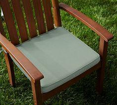 Sunbrella(R) Piped Outdoor Dining Chair Cushion, Spa