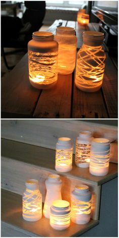 white spray painted Jars