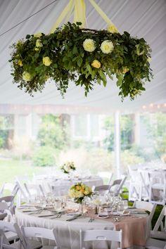 Floral and greens chandelier  | See more M+J Real Wedding @ Alderbrook Resort » http://www.taylordevents.com/mj-real-wedding-alderbrook-resort/ Images: LaVie Photography; Floral: Lynch Creek Floral; Linens: BBJ Linen; Coordination: Taylor'd Events Group #seabrookwedding #floralchandilier #weddingplanner #whitewedding