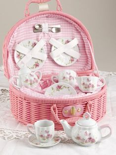Roses and Teacups in a basket~Tickled Pink~