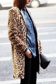 faux of course!  Leopard coat//