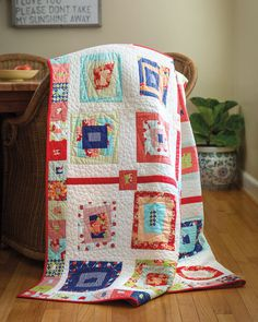 Let loose a little and make some wonky quilt blocks! Tammy Vonderschmitt's method makes it fun and easy—just cut slanted strips from fat eighths for a clever twist on a log cabin block. Click for digital pattern and quilt kit.