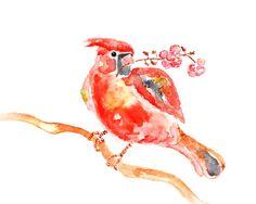 girl nursery art, cardinal painting, watercolor print, red & pink decor, watercolor painting, nursery decor -  Valentino Sweet Puff