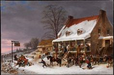 Cornelius Krieghoff Breaking up of a Country Ball in Canada, Early Morning (The Morning after a Merrymaking in Lower Canada) 1857 Oil on canvas x cm The Thomson Collection © Art Gallery of Ontario Canadian Painters, Canadian Artists, Art Gallery Of Ontario, Currier And Ives, Horse Carriage, Cornelius, Objet D'art, Expo, Sculpture