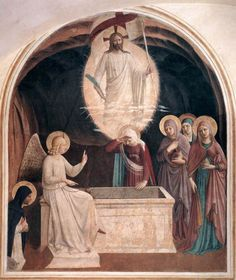 """artist-angelico:  """"Resurrection of Christ and Women at the Tomb via Fra Angelico  Medium: fresco, wall"""""""
