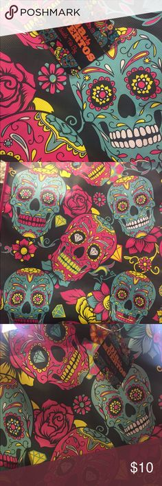 Día de Los Muertos Reusable Tote Super colorful and bright Día de Los Muertos / day of the dead reusable Shopping tote bag! Love this! Perfect for the Halloween season or because you love creepy cute stuff like me ;0)  Tags - The Walking Dead, Nightmare before Christmas, Tim Burton, luxury, witch, scary, creepy, cute, Hot topic, goth, rockabilly, psychobilly, Modcloth, zombie, monsters, skeleton, animals, garden, fairy garden, succulents, cactus Accessories
