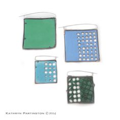 Reversible brooches, Enamel on Copper, Stainless Steel, Silver by Kathryn Partington 2014, Green, Blue, Turquoise, Squares, Dots, Spots, Ovals, Saw pierced, Pierced, Enamel
