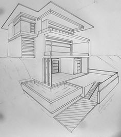 perspektive mit 2 fluchtpunkten futuristisches geb ude unterricht perspektive in 2019. Black Bedroom Furniture Sets. Home Design Ideas