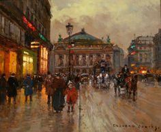 Edouard Leon Cortes - Opera House    Mid Century Modern | From a unique collection of landscape paintings at http://www.1stdibs.com/art/paintings/landscape-paintings/