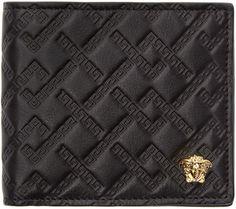 Versace Black Logo Embossed Bifold Wallet Versace Wallet 3db48197fa803