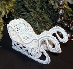 Instructions on… Advanced Embroidery Designs. Instructions on how to embroider the machine designs and assemble the sleigh. Embroidery 3d, Advanced Embroidery, Machine Embroidery, Embroidery Designs, Bobbin Lace Patterns, Doily Patterns, Freestanding Lace Embroidery, Bruges Lace, Christmas Crochet Patterns