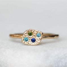 Diamond and Sapphire Leaf Ring - Choose 14k or 18k gold - Eco-Friendly Recycled Gold