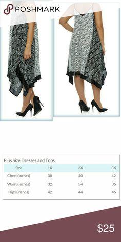 2-DAY FLASH SALE Plus Dress w/Geometric Print Handkerchief hem, 100% rayon.  Very loose fitting and flowy. Dresses
