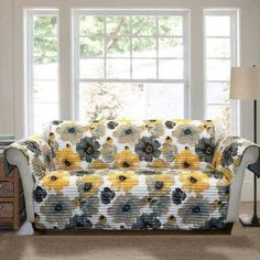 Leah Furniture Protector, Yellow and Gray