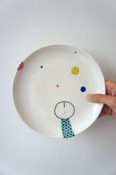 Hand Painted Plate-Keramik-Porzellan-Keramik von vanessabeanshop