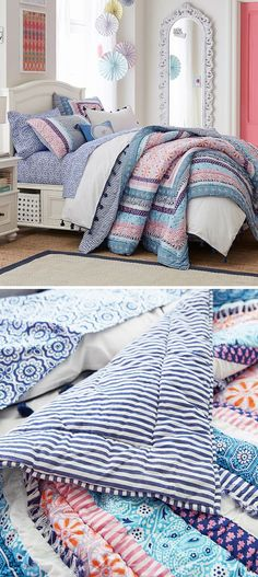 A chic patchwork paisley quilt with bohemian style. Multicolor patchwork prints instantly bright your child's bedroom. It's woven with pure cotton and adds a stylish and soft cozy layer to the bed. #girlsbedding #littlegirlsbedding #floralbedding #girlsbedroomideas #kidsbedding #girlsbedroom, #girlsroom, #kidsroomsgirlsdreamrooms #kidsbedroomideas #teengirlsbedding #teengirlsbedroomideas Teen Girl Bedding, Teen Girl Bedrooms, Quilt Bedding, Bedding Sets, Little Girl Beds, Paisley Quilt, Floral Bedding, Dream Rooms, Bedding Collections