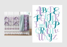 ABC art in custom Brooklyn Pottery Barn Bedding colors of mint aqua, purple and teal. Choose any colors to match your nursery.