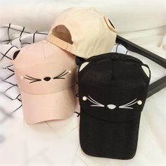 Black/Pink Kawaii Cat Baseball Cap SP168471