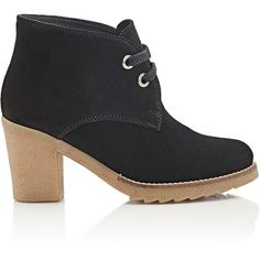Barneys New York Women's Crepe-Sole Desert Boots ($149) ❤ liked on Polyvore featuring shoes, boots, black, lace up platform boots, black leather boots, leather desert boots, black shiny boots and black leather shoes